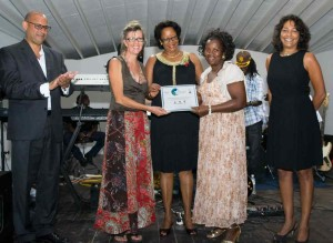 Christine Curry & colleague from the Grenada Goat Dairy Project receiving Award from the Hon Yoland Bain Hosford