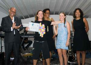 Jamie & Amber Barrett, Conservation Kayak accepting Award from Sen Simon Steill & the Hon. Yoland Bain